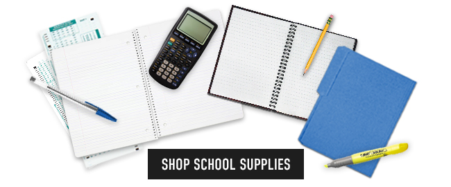 Picture of office supplies. Click shop School Supplies.